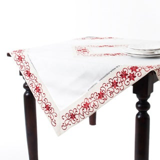 Embroidered Red/ Ivory Table Topper with Cutwork Design