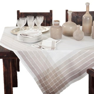 Ombre Striped Border Tablecloth