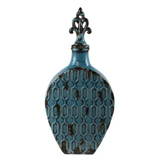 Large Turquoise Blue Lidded Ceramic Vase