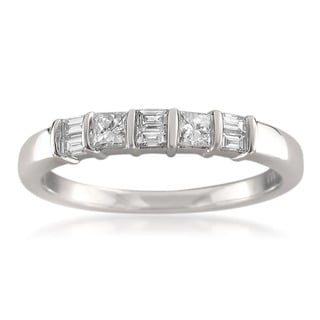 Montebello 14k White Gold 3/8ct TDW Baguette and Princess-cut Diamond Wedding Band (G-H, I1)
