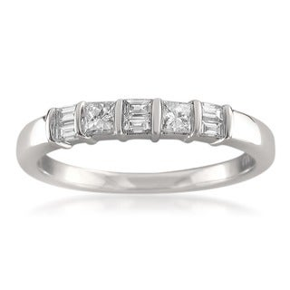 Montebello 14k White Gold 3/8ct TDW Baguette and Princess-cut Diamond Wedding Band