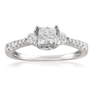 Montebello 14k White Gold 3/5ct TDW Princess-cut Diamond Composite Ring