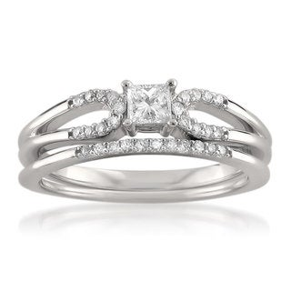 Montebello 14k White Gold 3/8ct TDW Princess-cut Bridal Ring Set