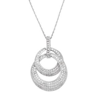Sterling Silver White Cubic Zirconia Pendant Chain Necklace