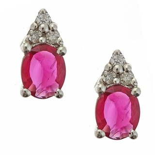 Anika and August 10k White Gold Oval-cut Ruby and Diamond Accent Earrings