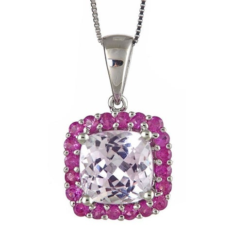 Anika and August 14k White Gold Kunzite and Pink Sapphire Pendant