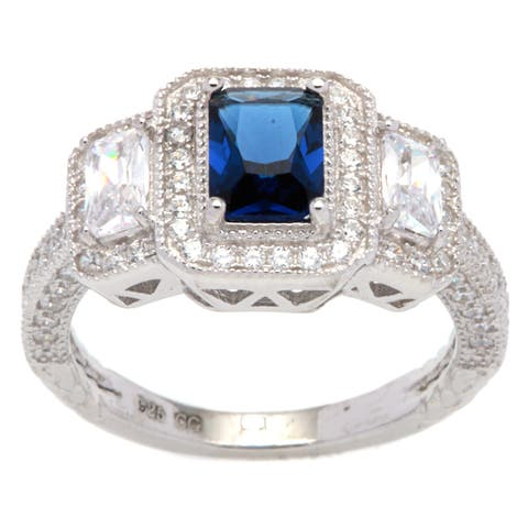 Sterling Silver Vintage-look Halo Ring with Cushion-cut Navy Blue Cubic Zirconia Center