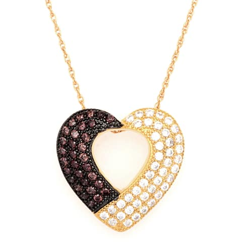 18k Gold/ Coffee Plating Over Sterling Silver Cubic Zirconia Pendant with Chain