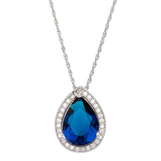 Sterling Silver White and Navy Blue Cubic Zirconia Tear Drop Pendant with Rope Chain