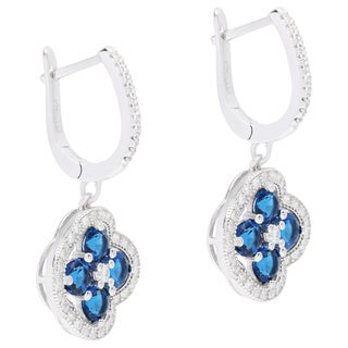 Sterling Silver Clover Cubic Zirconia Earrings