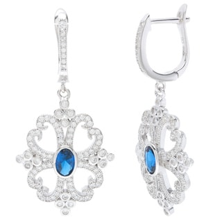 Sterling Silver Blue Oval-cut Cubic Zirconia Earrings