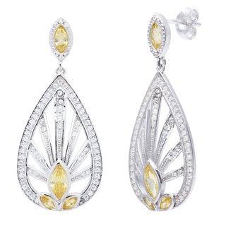 Sterling Silver Vintage-style White and Yellow Marquise-cut Cubic Zirconia Dangling Earrings