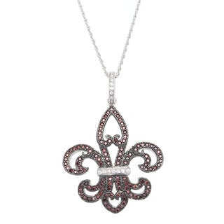 Sterling Silver White and Brown Cubic Zirconia Fleur de Lis Pendant Chain Necklace