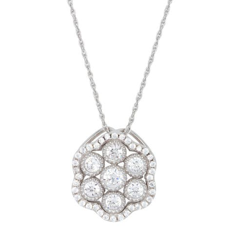 Sterling Silver Cubic Zirconia Vintage Looking Rope-chain Pendant
