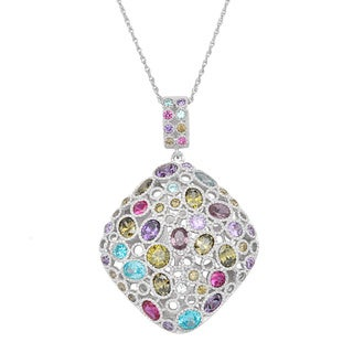 Sterling Silver Multi-color Cubic Zirconia Pendant Chain Necklace