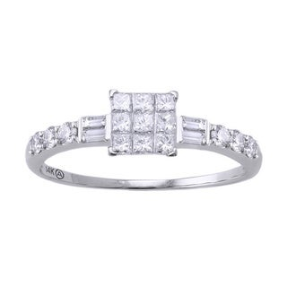 Beverly Hills Charm 14k White Gold 1/2ct TDW Invisible-set Diamond Engagement Ring