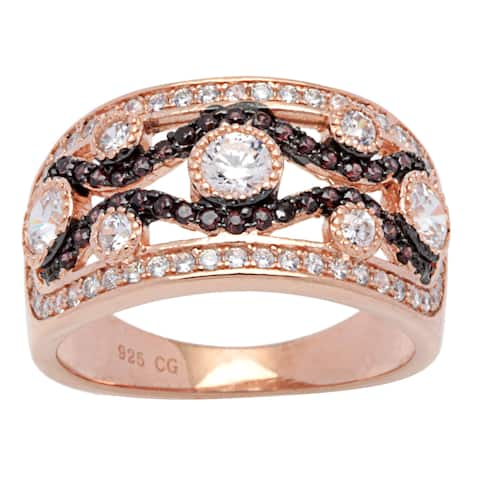 Pink and Brown Sterling Silver with White Cubic Zirconia Vintage-style Wide Band Ring
