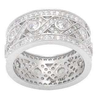 Sterling Silver Cubic Zirconia Vintage-style Hugs and Kisses Wide Band