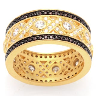 Sterling Silver Cubic Zirconia Vintage-look Hugs and Kisses Wide Band with Gold/ Coffee Finish