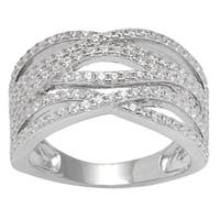 Sterling Silver Cubic Zirconia Wide Band Wave Ring