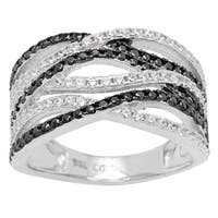 Sterling Silver Black and White Cubic Zirconia Wave Ring