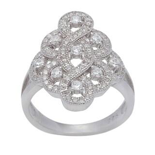 Sterling Silver Cubic Zirconia Swirl Vintage-look Ring