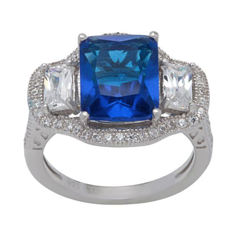 Sterling Silver Blue and White Cubic Zirconia Halo Ring