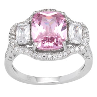 Sterling Silver Vintage-look Cushion-cut Pink Cubic Zirconia Center Halo Ring
