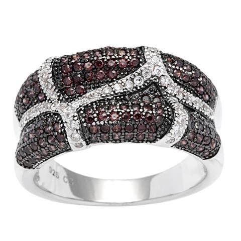 Sterling Silver Coffee and White Cubic Zirconia Ring