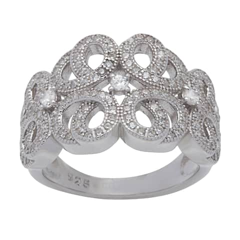 Sterling Silver Swirl Band Cubic Zirconia Ring - White