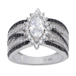 Sterling Silver Ring Black and White Marquise-cut Cubic Zirconia Center Ring