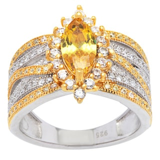 Sterling Silver Yellow and White Marquise-cut Cubic Zirconia Ring
