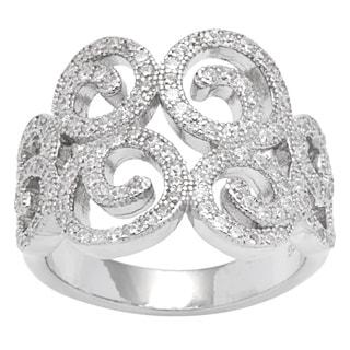 Sterling Silver Swirl Vintage-Look Cubic Zirconia Ring