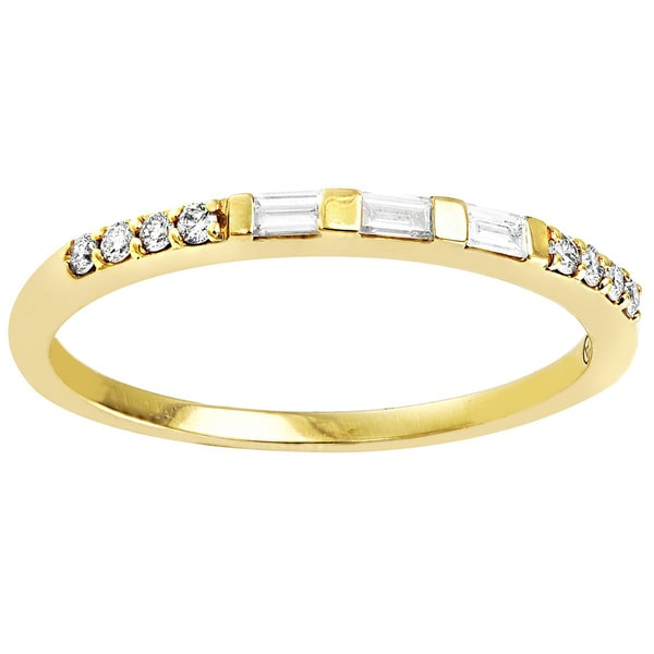 Beverly Hills Charm 14k Gold 1/6ct TDW Baguette and Round Diamond Band Ring