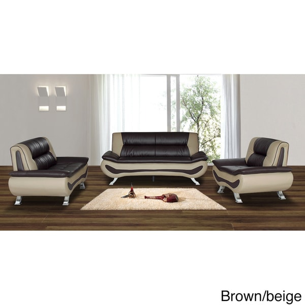 3 Piece Bonded Leather Sofa/ Loveseat And Chair Set   Free Shipping Today    Overstock.com   16597762