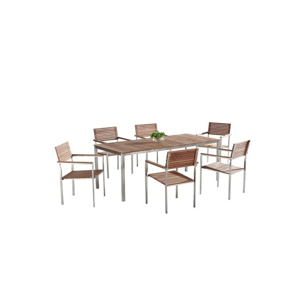 velago vitale teak stainless steel dining table