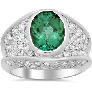 14k White Gold 1 3/5ct TDW Diamond and 3 1/4ct Tourmaline Ring (E-F, VS1-VS2)