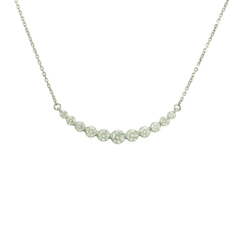 Fabulous 14k Gold 1ct TDW Curved Diamond Bar Necklace