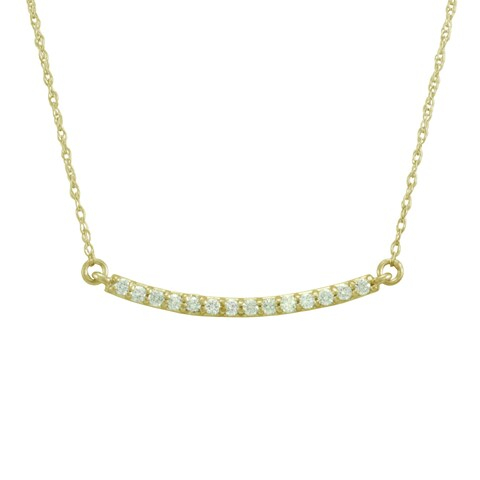 14k Gold 1/6ct TDW Diamond Mini Bar Necklace