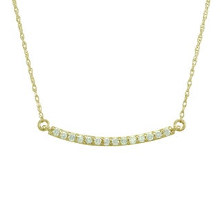 14k Gold 1/6ct TDW Diamond Mini Bar Necklace (G-H, SI1-SI2)