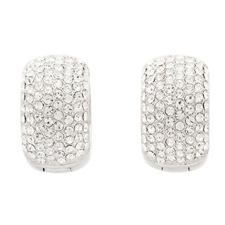 Pave Crystal Cuff Hoop Earrings