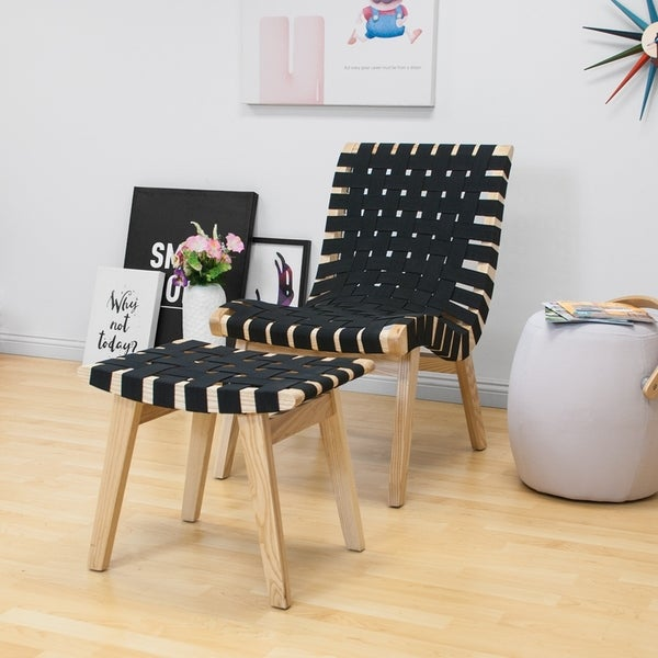 Shop Mod Made Modern Black Woven Lounge Chair With Ottoman