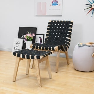 Mod Made Modern Black Woven Lounge Chair with Ottoman