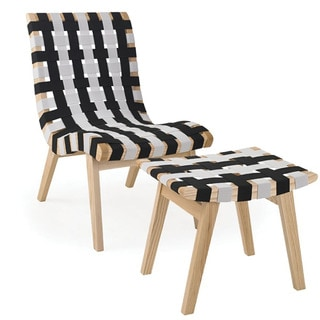Mod Made Mid Century Black and White Chair and Ottoman
