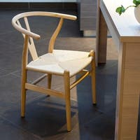 Carson Carrington Akaa Mid Century Modern Wood Dining Side Chair with Hemp Seat