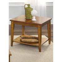Lake House Oak Square Lamp Table