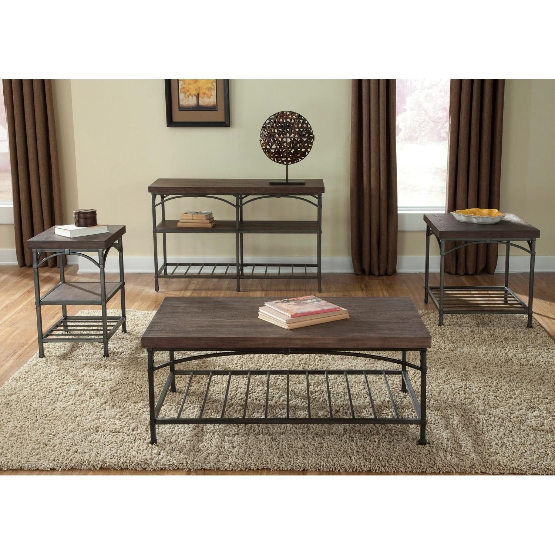 Franklin Rustic Brown Metal Tube Base Sofa Table (Transitional Rustic Brown Sofa Table)