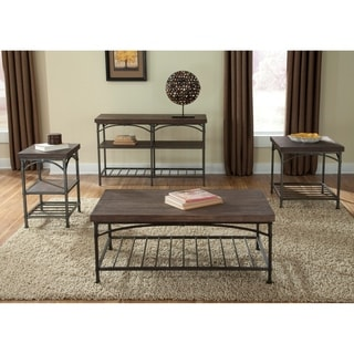Franklin Rustic Brown Metal Tube Base Sofa Table