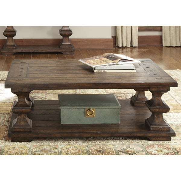 Wilson Antique White Coffee Table: Traditional Spanish Kona Brown Cocktail Table