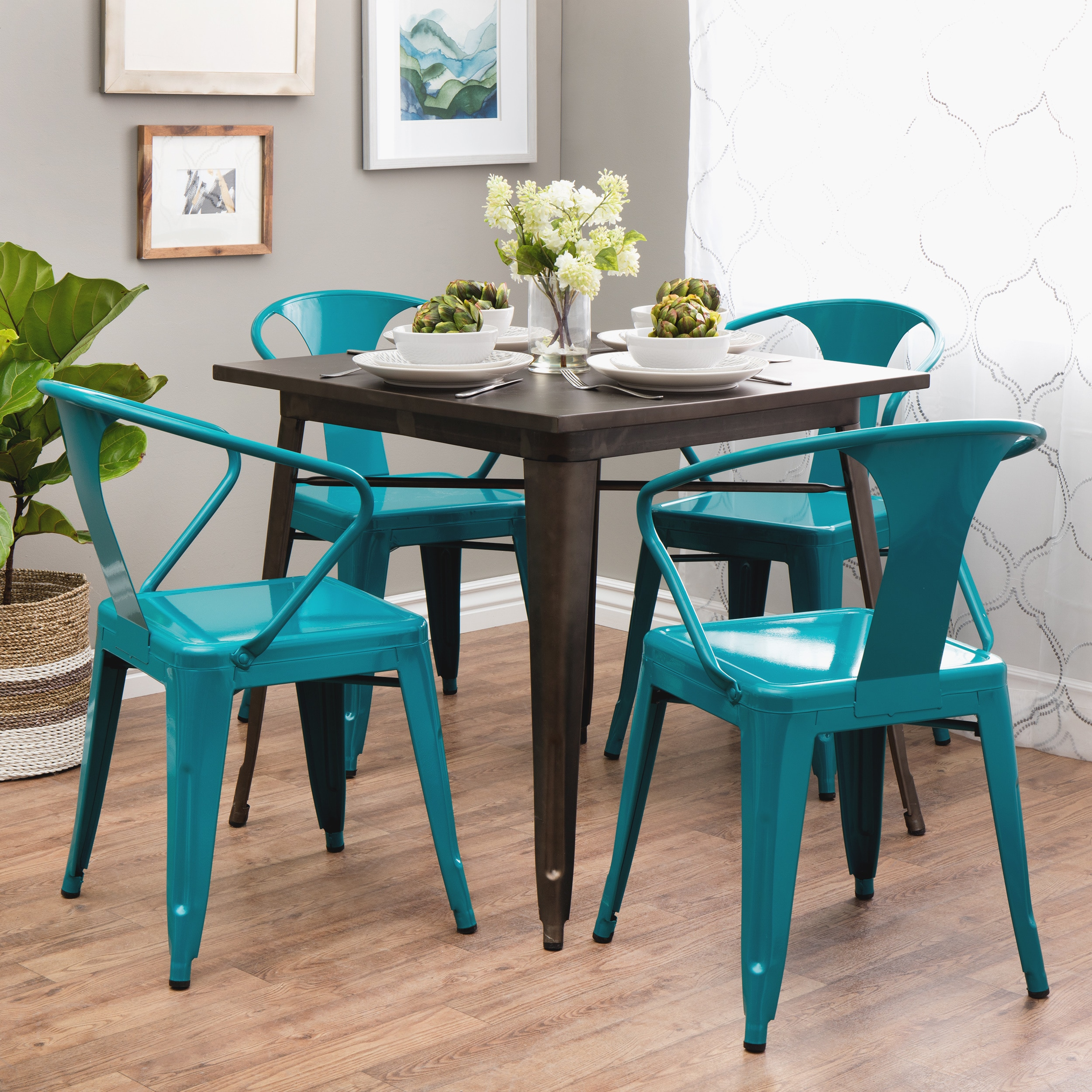 Peacock Tabouret Stacking Chair (Set of 4), Blue (Metal)